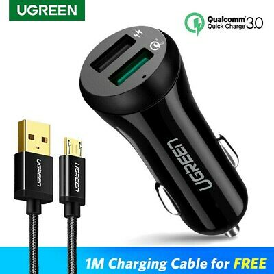 UGREEN Car Charger 5V3A Quick Charge 3.0 Dual USB Port Phone Charger With Cables