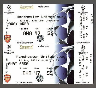 2003/04 MANCHESTER UNITED v ARSENAL - CHAMPIONS LEAGUE TICKETS - POSTFREE
