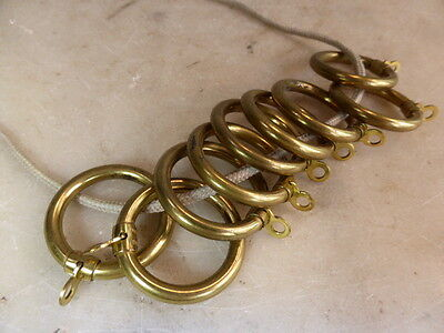 Set of 9 antique brass curtain rings to fit 1 inch pole