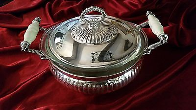 Vintage Silver Plate 3 Footed Serving Casserole Dish With Lid & Double Handle