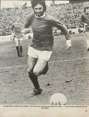 Football B+W action picture poster GEORGE BEST, LAW in backgrd Man Utd v Chelsea