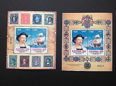 Chile Exfina 89 Souvenir/miniature Sheet 1989 X 2 MNH