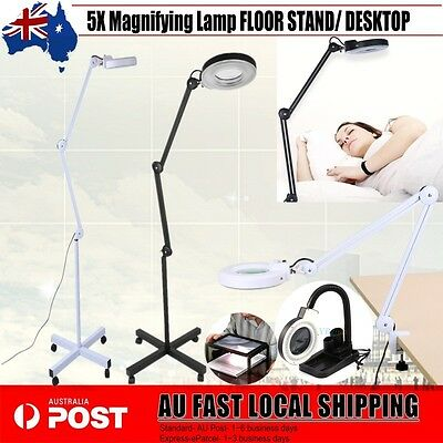 Magnifying Lamp 5X Illuminated Light Glass Lens Desktop/Stand Beauty Magnifier
