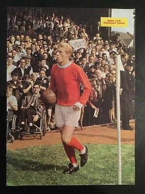 1966 STUNNING A4 Football picture poster DENIS LAW, Man Utd + Scotland