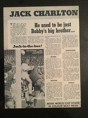 """*1970* Football article JACK CHARLTON England """"Was Just Bobby's Big Brother..."""""""