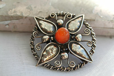 Antique Vintage Carved Sterling Silver Carnelian C Clasp Brooch