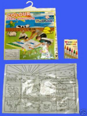 Colour Your own Farm Wipeable Playmat and Crayons