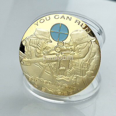 Hot You Can Run But You Will Only Die Tired Gold Plated Commemorative Coin US