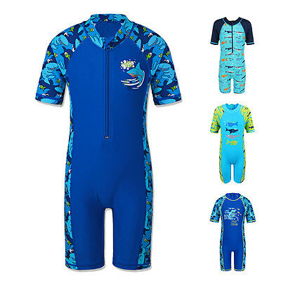 Kids Childrens Boys Swimming Costume UV 50+ Sunsafe Sunsuit Blue Whale Shark