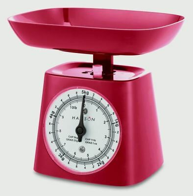 Hanson Red 5KG Mechanical Kitchen Baking Cooking Scale With Bowl
