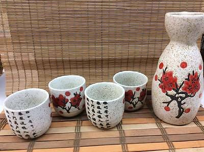 Porcelain Sake Set with 4 cups -Stone Cherry blossom Design- Japanese Style