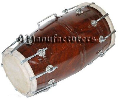 Solid Wood HM-0124 Hand Made Sheesham Wood Dholak Dark Brown Color-by Dorpmarket