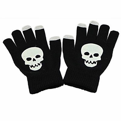 "1x Pair Full Finger ""WHITE SKULL"" Touch Wool Gloves Fashion Warm(A8)BAD BOYZ SA"