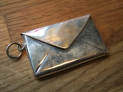A Double / Large Hallmarked Sterling Silver Envelope Shaped Stamp Case Holder