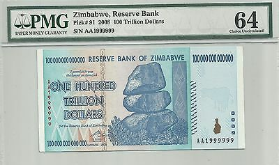 [solid AA1999999] Zimbabwe 100 trillion p91 prefix AA fancy serial number PMG 64