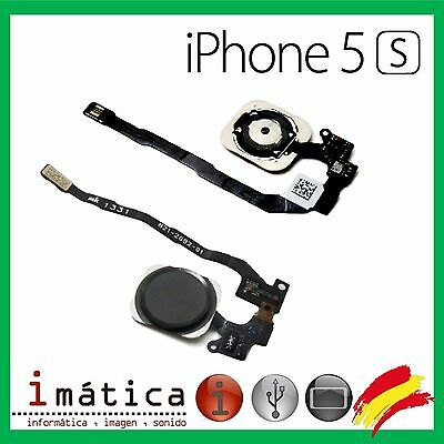 Boton Home Iphone 5S Cable Flex Huella Inicio Menu Negro Button Black Espacial