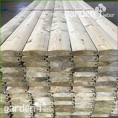 Buy in Pack! 200m - 22mm x 100mm Log Lap Cladding Tongue&Groove Redwood TREATED