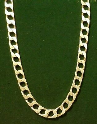 L@@K Mens Vintage 925 Sterling Silver Diamond Cut Curb Chain Necklace18 Inch NEW