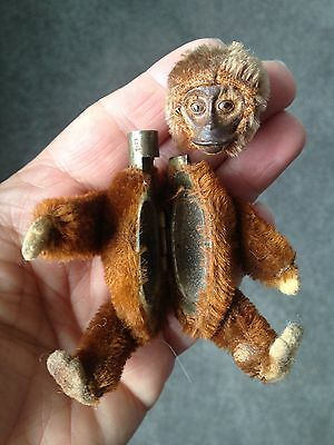 Rare Schuco Miniature Monkey Mohair Lipstick Compact Monkey..good Condition