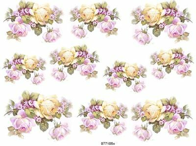 FaBuLouS LiLaC & YeLLoW RoSeS ShaBby WaTerSLiDe DeCALs #2  *ChiC*