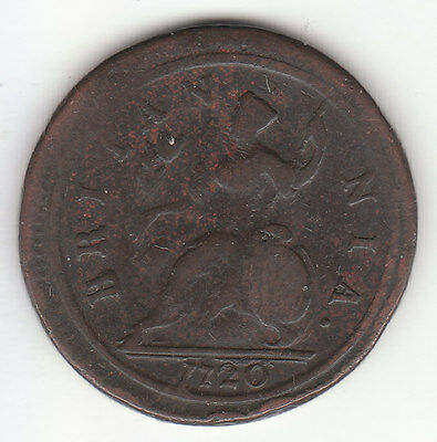 1720 George II British US Colonial Halfpenny Copper Coin.
