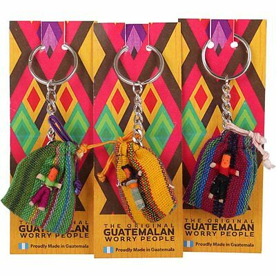 The Original Guatemalan Worry People in Fabric bag with 4 worry Dolls  Keyring
