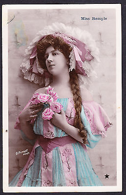 Miss Remple Edwardian Actress coloured photo postcard posted in France 1906 PC