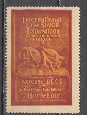 1914 Chicago International Live Stock Exposition Poster Stamp Unmounted Mint Ful