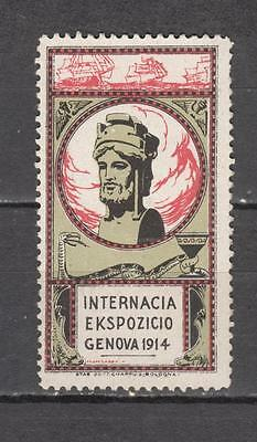 1914 Genova Internacia Ekspozicio  Poster Stamp Unmounted Mint Full Gum ( For Co