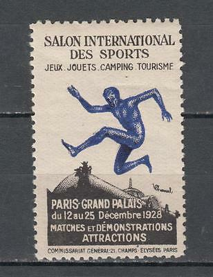 1928 Paris Salon International Des Sports Poster Stamp Mounted Mint Full Gum ( F