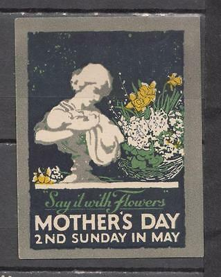 "1940's Mother's Day ""Say It With Flowers"" Poster Stamp Unmounted Mint Full Gum ("