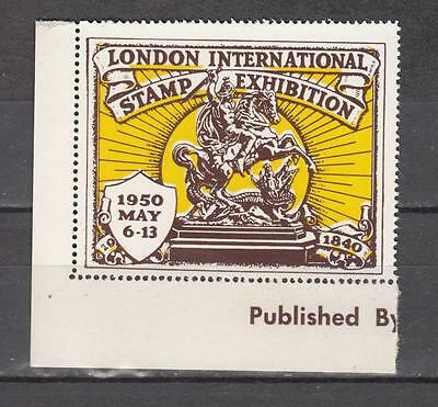 1950 London International Stamp Exhibition Brown/Yellow Perf Unmounted Mint Full