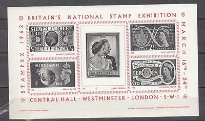 1962 Britain's National Stamp Exhibition Min Sheet Unmounted Mint Full Gum ( For