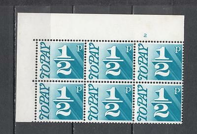 1970 Postage Due Block Of 6 With Cylinder No 2 Sg D77 Unmounted Mint Full Gum (