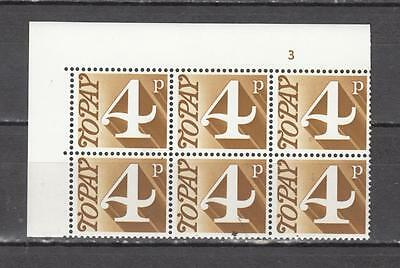 1970 Postage Due Block Of 6 With Cylinder No 3 Sg D81 Unmounted Mint Full Gum (