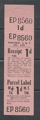 Western S.M.T. Co. Ltd. 1d Parcel Label Complete All Three Parts Unmounted Mint