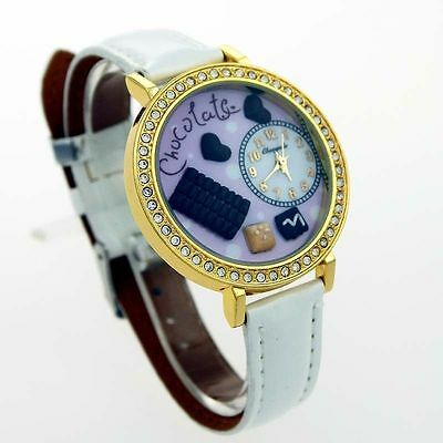 "Ladies Beautiful White Leather "" Chocolate Watch "" Very High Quality Last One !"