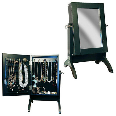 Jewellery Cabinet Armoire Black Table Top Mirror Free Standing Bedroom Organiser