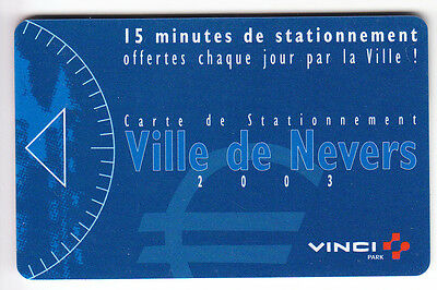 Piaf Parking Carte / Card .. 15Mn Nevers 58 Vinci 2003 V° 11Ln Magnetique