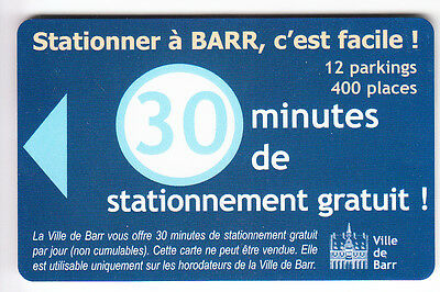 Piaf Parking Carte / Card .. 30Mn Barr Ville V° Blanc Magnetique