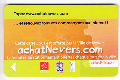 Piaf Parking Carte / Card .. 15€ Nevers 58 Ce Cci Ville V° Vinci Magnetique