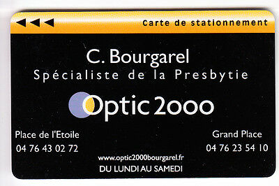 Piaf Parking Carte / Card .. Grenoble 38 Optique Bourgarel Magnetique