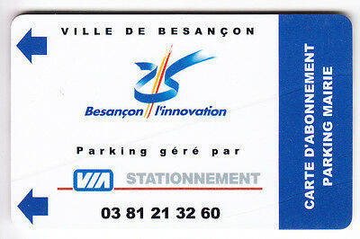 Piaf Parking Carte / Card .. Besancon Via Abonne Mairie  V° 4Ln Magnetique
