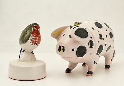 Rye Pottery - 'the Sussex Pig' And A 'robin'