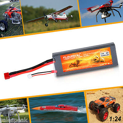 2S 7.4V 5200mAh 30C T Plug LiPo Battery Pack for RC Car Truck Airplane Truggy UK