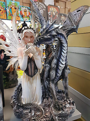 Gorgeous Fairy & Dragon With Crystal Ball Home Or Garden Statue Ornament Decor