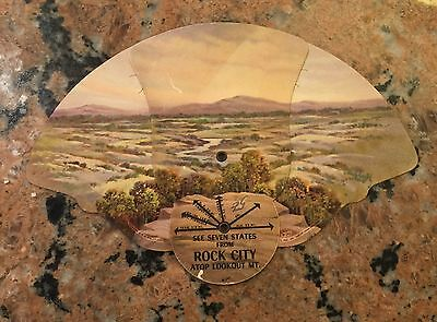 1928 Rock City Atop Lookout Mt Tennessee See Seven States Adv Folding Fan