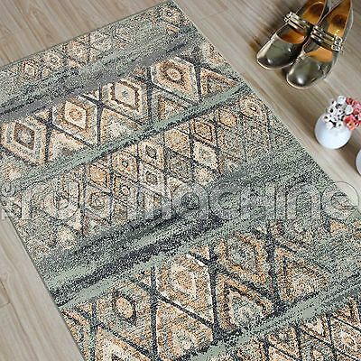 MADELYN BLUE BEIGE DIAMOND FADED TRIBAL POWER LOOMED RUG RUNNER 80x300cm **NEW**