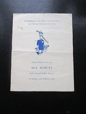 1956 Sea Scouts Orderof Divine Service Hms Victory Lord Nelson