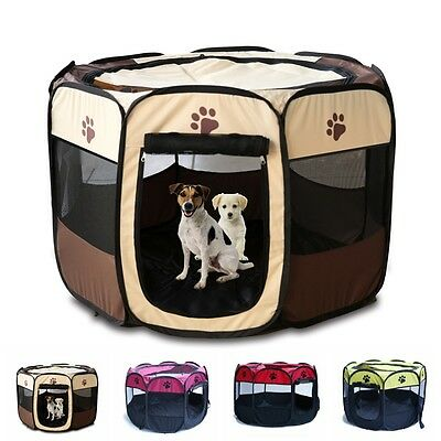 Large Pet Dog Cat Playpen Tent Portable Exercise Fence Kennel Cage Oxford Crate